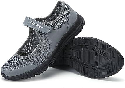 LANSKIRT Zapatillas Running de Mujer Sin Cordones Zapatos de Verano 2019 Velcro Moda Sandalias de Antideslizantes Zapatillas Deportivas para Correr Calzado Comodo ...