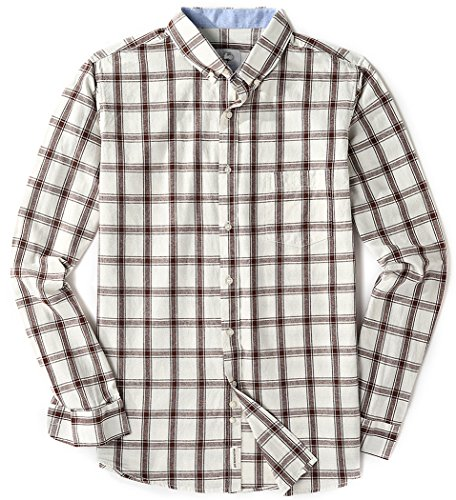 Men's Long Sleeve Standard Fit Plaid Checked Button Up Casual Shirts Coffee Large