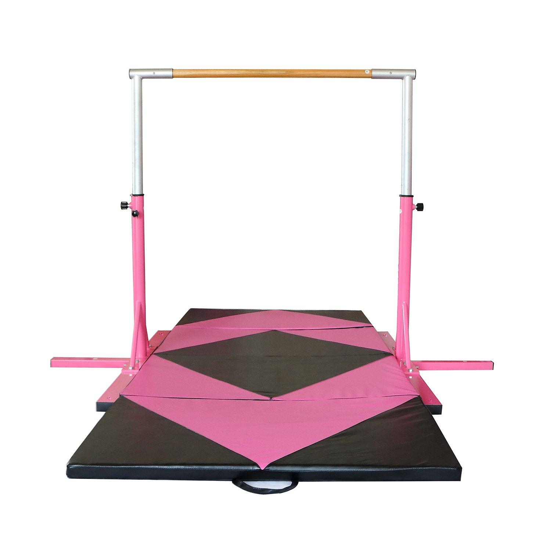 usexportピンクの調節可能な3 ' 5 '体操水平バーと4 ' x10 ' x2