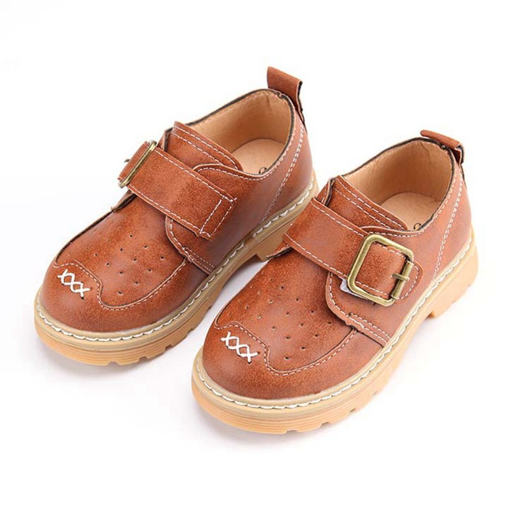 F-OXMY Boys Uniform Oxford Dress Shoes Kids Slip-On Loafer Casual Shoe (Toddler/Little Kid) Brown