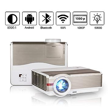 LCD WiFi Proyector con Bluetooth, 5000 Lúmenes Soporte 1080P Full ...
