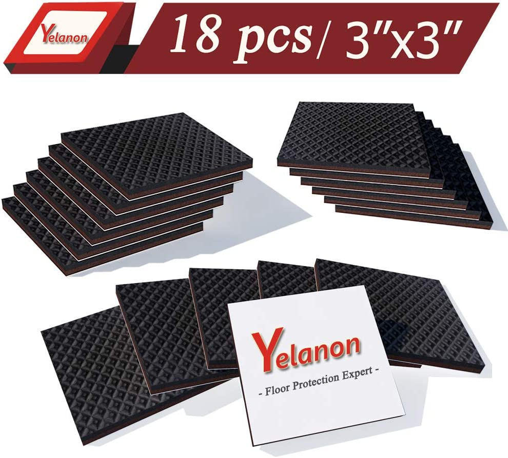 Yelanon Non Slip Furniture Pads 18 pcs Anti Skid Stopper Self Adhesive Rubber Feet Furniture Pads Wood Floor Protector for Furniture Grippers on Hardwood Floor - Protectors Chair Leg