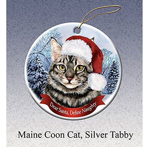 Holiday Gift Maine Coon Cat, Silver Tabby Santa Hat Porcelain Christmas Ornament