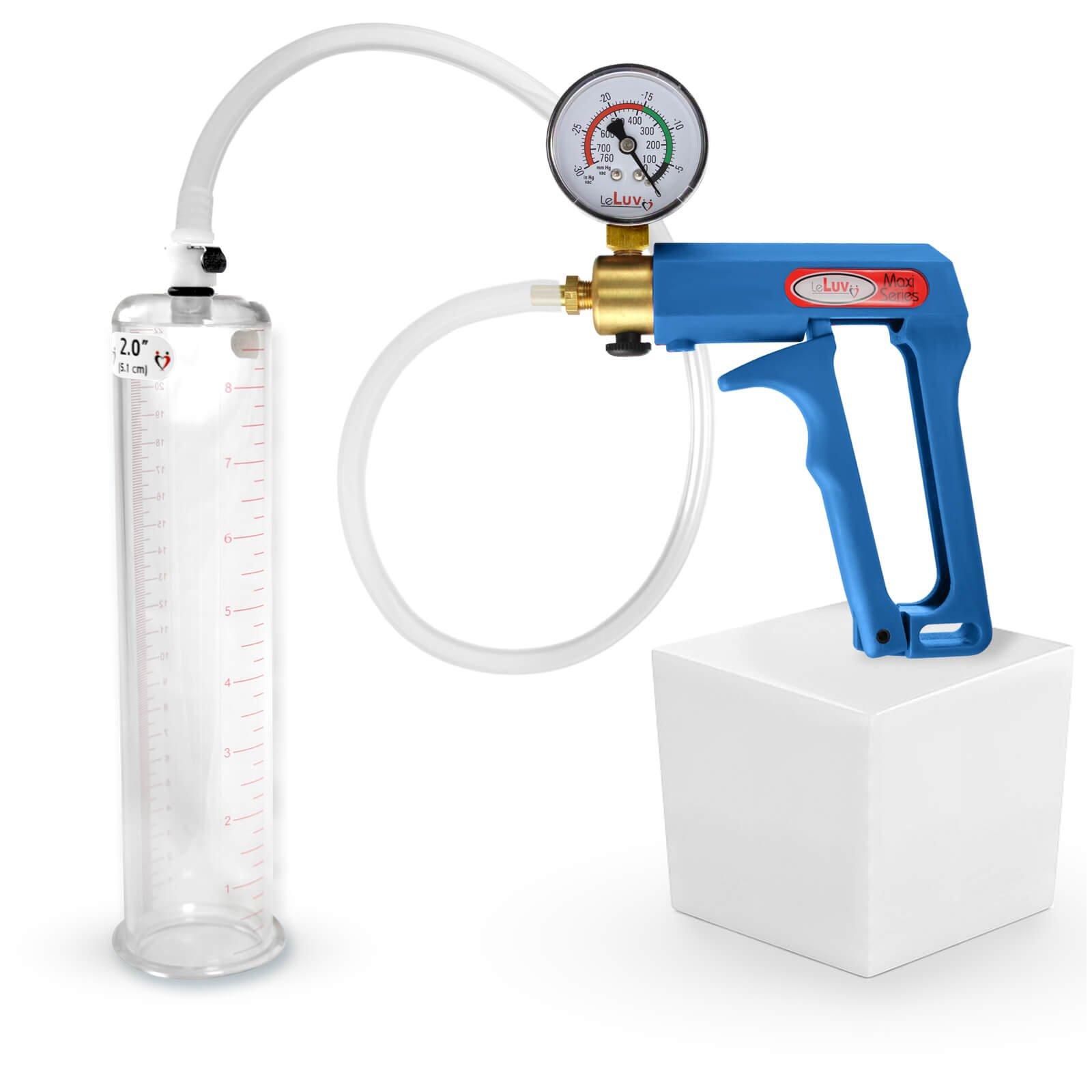 LeLuv Maxi Blue Plus Vacuum Gauge Penis Pump 9 inch x 2 inch Cylinder by LeLuv