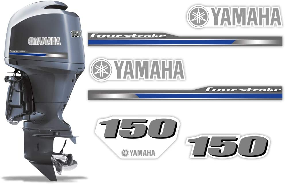 AMR Racing Outboard Engine Graphics Kit Sticker Decal Compatible with Yamaha 150 2013+ - 4 Stroke