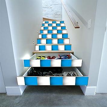 Escaliers Auto Adhesif Papier Peint Bleu Et Blanc Mosaique