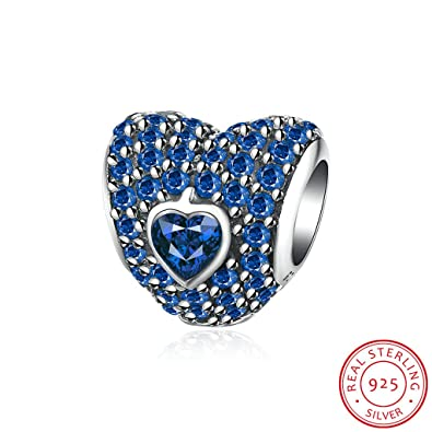 4bf54e961 Image Unavailable. Image not available for. Color: HMILYDYK 925 Sterling  Silver Heart Charms Bead Swarovski CZ Crystal Elements For Pandora Charm  Bracelet