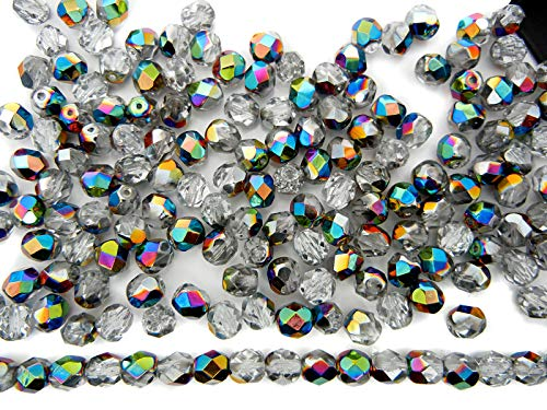 4mm, 600pcs, Crystal Vitrail coated, Preciosa Czech Fire Polished Round Faceted Glass ()