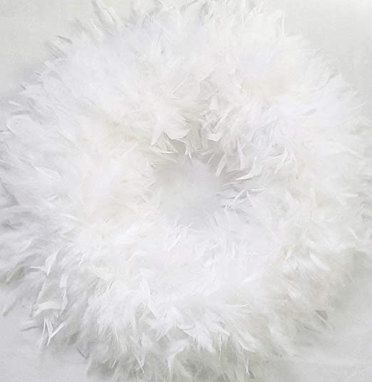 amazon com white christmas wreaths fluffy 23 white feather wreaths gorgeous kitchen dining white christmas wreaths fluffy 23 white feather wreaths gorgeous