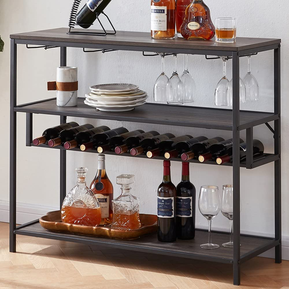 LVB Wine Rack Table, Liquor Bar Cabinet Freestanding Floor, Wooden Rustic Wine Storage with Wine Shelf and Glass Holder, Metal and Wood Modern Wine Cabinet for Home with Wine Bottle Rack, Grey Oak