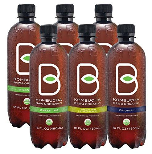 Kombucha Raw Organic Tea, Only 2g of Sugar, Probiotics & Prebiotic, Promotes Healthy Weight Loss, Kosher (B-tea Variety Pack, 6 pack x 16 oz)