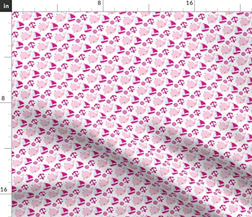 Spoonflower Kawaii Whale Fabric - Pink Sailboat Whales Nautical Baby Girl Pink Anchor Ship Wheel Ship Boat Whale Nursery Design by Prettygrafik Printed on Petal Signature Cotton Fabric by The Yard -