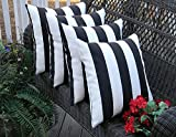 Resort Spa Home Decor Set of 4 Indoor/Outdoor Square Decorative Throw/Toss Pillows Black and White Stripe Fabric Choose Size (17'' x 17'')