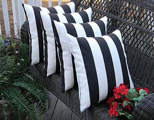 White Stripe Throw Pillow - Resort Spa Home Decor Set of 4 Indoor/Outdoor Square Decorative Throw/Toss Pillows Black and White Stripe Fabric Choose Size (17