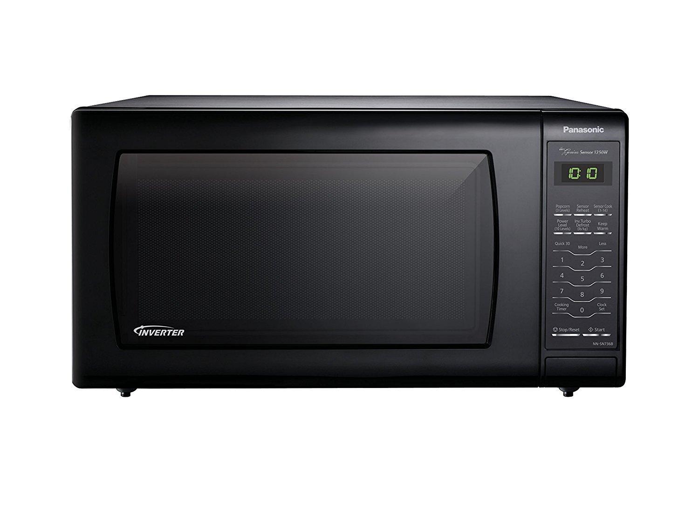 Microwave Oven Compact Countertop Panasonic Electric Black 1250 Watt 1.6 cu. ft. Inverter Cookware With Free Pot Holders