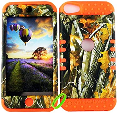 Apple iPod Touch 6 & 5th Generation Cellphone Trendz Dual Layer Soft Hard Hybrid Heavy Duty Protective Cover - Camo Real Hunter Series Mossy Oak Big Branch Tree Design on Orange (Real Tree Camo Case For Ipod 5)