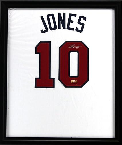 Chipper Jones Autographed/Signed Atlanta Braves Framed White Custom ...
