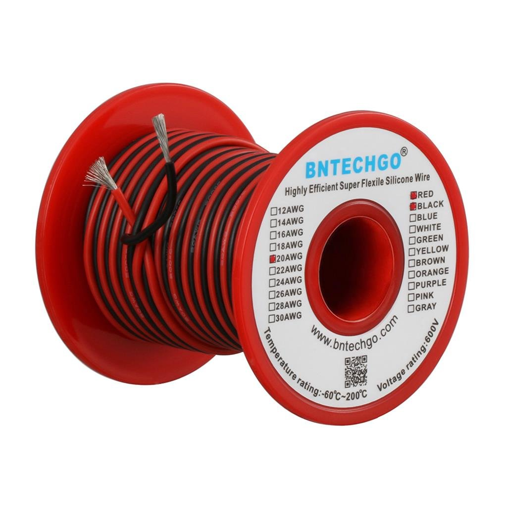 BNTECHGO 20 Gauge Silicone Wire Spool 50 feet Ultra Flexible High Temp 200 deg C 600V 20 AWG Silicone Wire 100 Strands of Tinned Copper Wire 25 ft Black and 25 ft Red Stranded Wire for Model bntechgo.com
