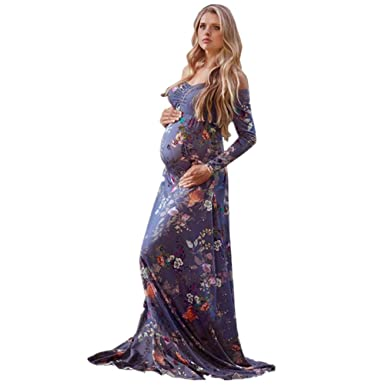 f474c0f197bba ChainSee Maternity Gown Sexy Off Shoulder Print Nursing Maxi Dress Photo  Shoot at Amazon Women's Clothing store: