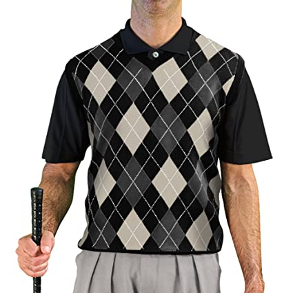 a8a5dd933f1ac6 V-Neck Argyle Golf Sweater Vests - GolfKnickers: Mens - Pullover - Black/