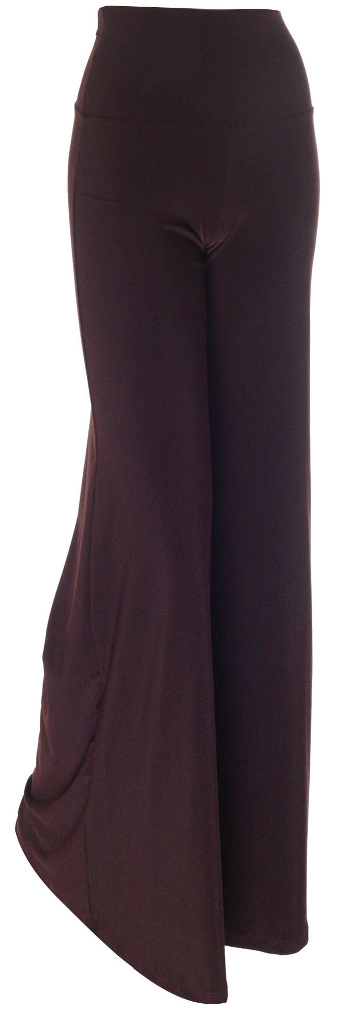 Simplicity Solid Palazzo Pants Foldover High Waist Flare Bell Bottom, Brown, S