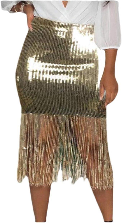 Doufine falda sexi para mujer, delgada, a la moda, con flecos de ...