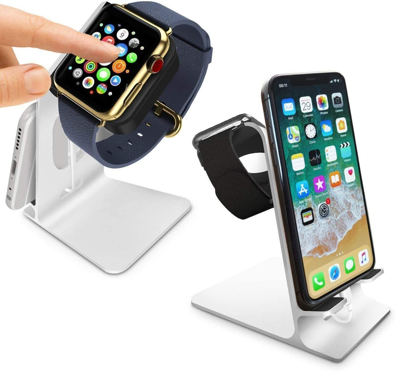 Orzly Duo Stand for Apple Watch - Aluminium Desk Stand Becomes a Fully Functional Charging Dock for Both AppleWatch & iPhone Simultaneously (Grommet Charger & Lightning Cable not Included) - Silver
