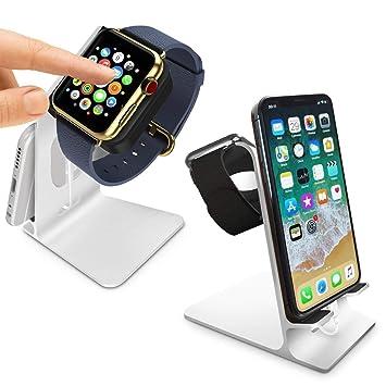 Orzly® - DuoStand Charge Station compatible con Apple Watch & iPhone - Desk Stand Cradle (Soporte de Aluminio) en PLATA con Espacios de Inserción para ...