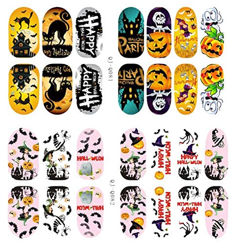 South Weekend Halloween Skull Bone Nail Art Sticker Watermark Tattoos Tips 2018 (E)