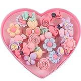 Haolong 指輪セット 子供の指輪 女の子 かわいい 指輪セット お祭り 景品 縁日 女の子 ファッションリング混合様式の樹脂カボション付き(24枚入り) お花
