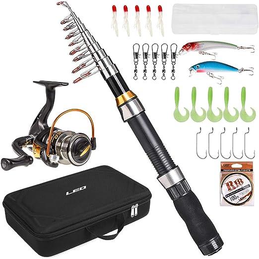 Fishing Rod Reel Baits Set Spinning Lure Pole Tackle Bait Pen Line Hooks Bag Kit