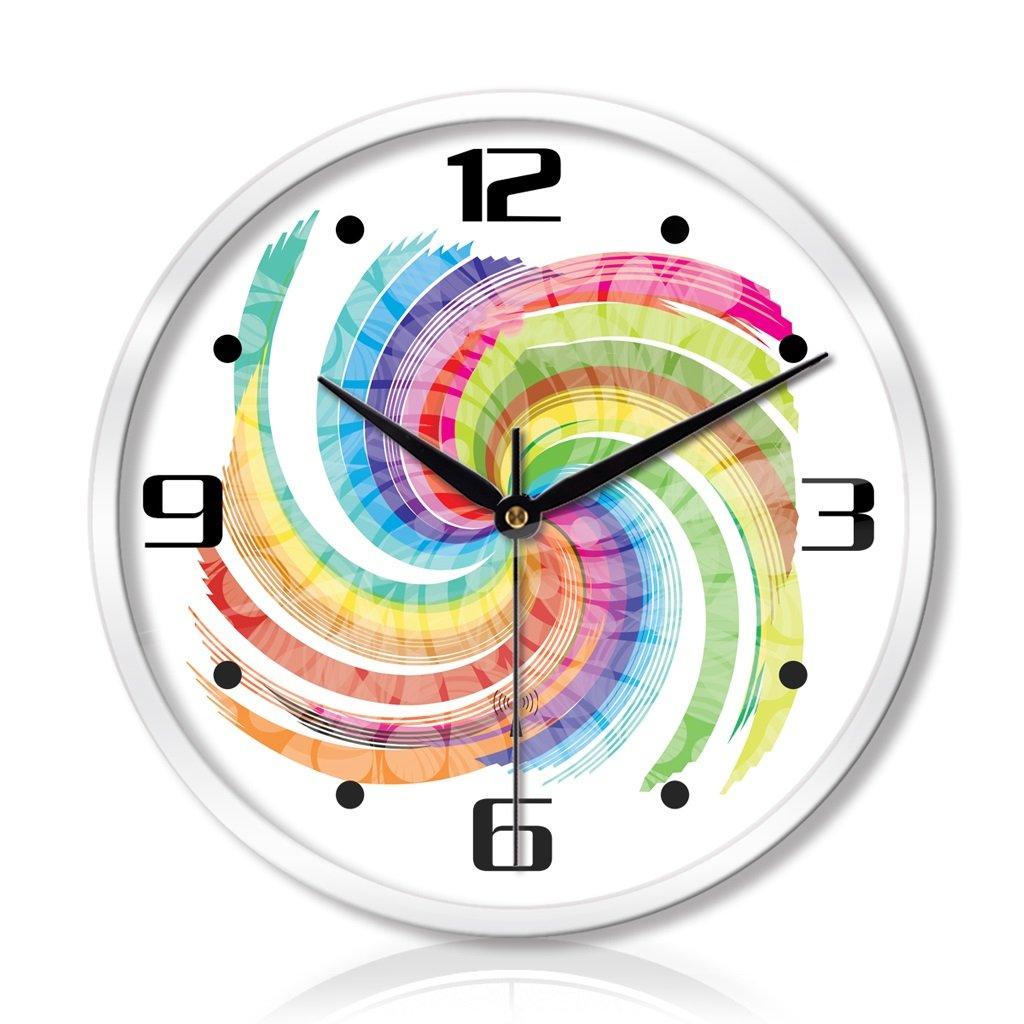 LINGZHIGAN ウォッチリビングルームベッドルームクリエイティブメタルウォールクロックミュートスキャンホームスマート電気時計 (色 : 白, サイズ さいず : 12インチ) B07BWCVW9Z 12インチ 白 白 12インチ