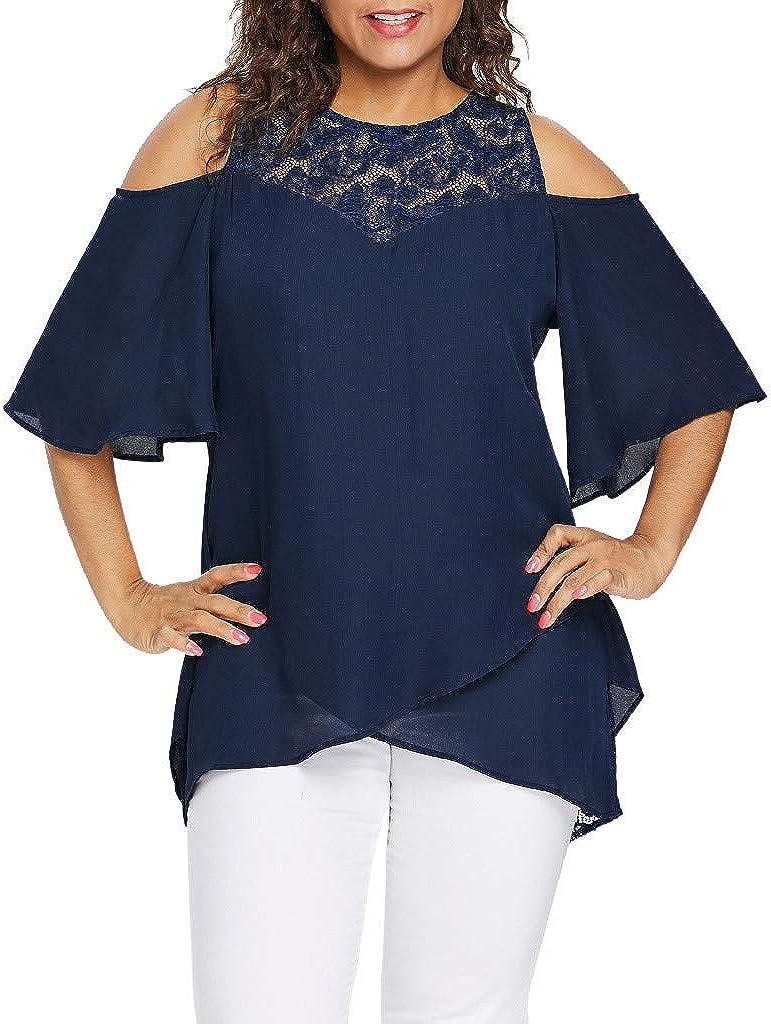 Darringls Camisetas de Mujeres de Talla Grande Hombro Camisas la Atractiva Ocasional de Suelto Manga Corta de Blusa de Verano para Playa