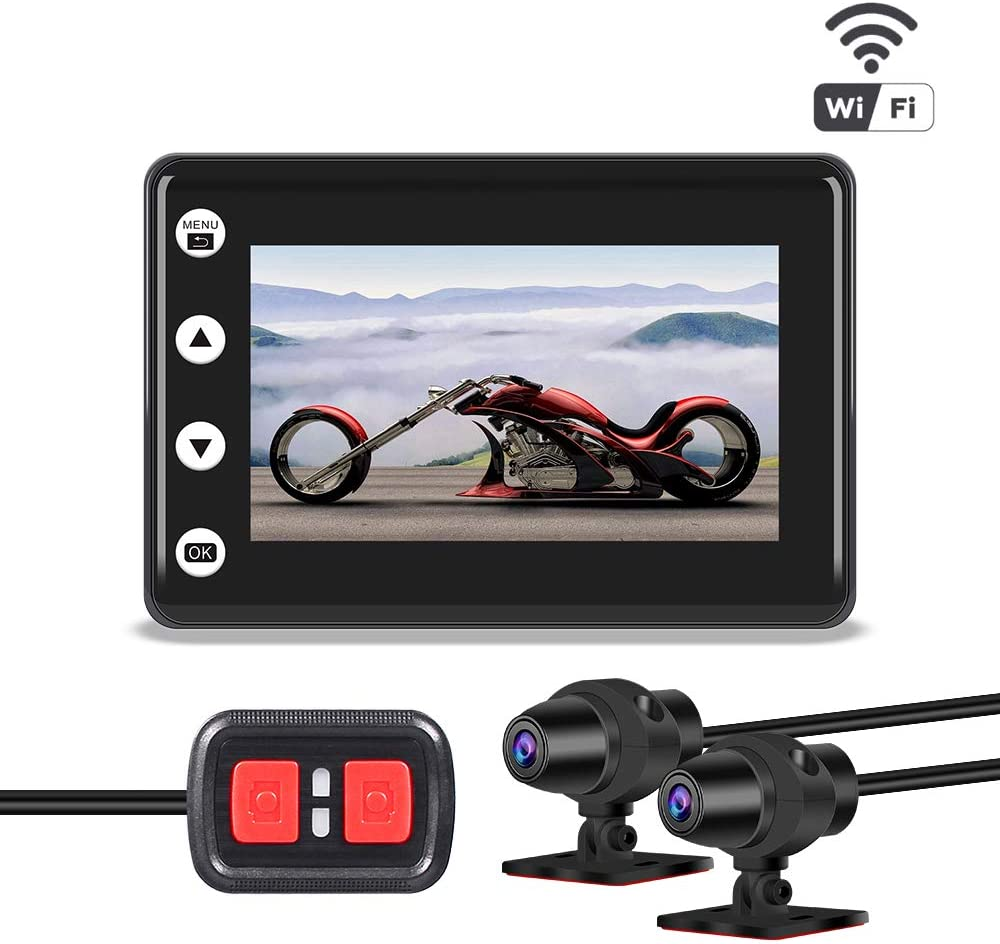 "VSYSTO Motorcycle Dash cam Recorder Camera Dual Lens 1080P,Front and Rear with 3"" LCD Screen Recording Camera Support Waterproof & WiFi & Controller and Super Night Vision"