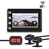 """VSYSTO Motorcycle Camera Dual Lens 1080P, Motorcycle Dash Cam Front and Rear with 3"""" LCD Screen Recording Camera Support Waterproof & WiFi & Wireless Controller and Night Vision"""