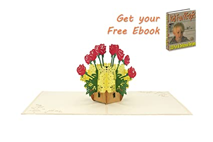 flower basket pop up card happy birthday popup cards flower 3d handmade greeting cards - Happy Birthday Cards Flowers