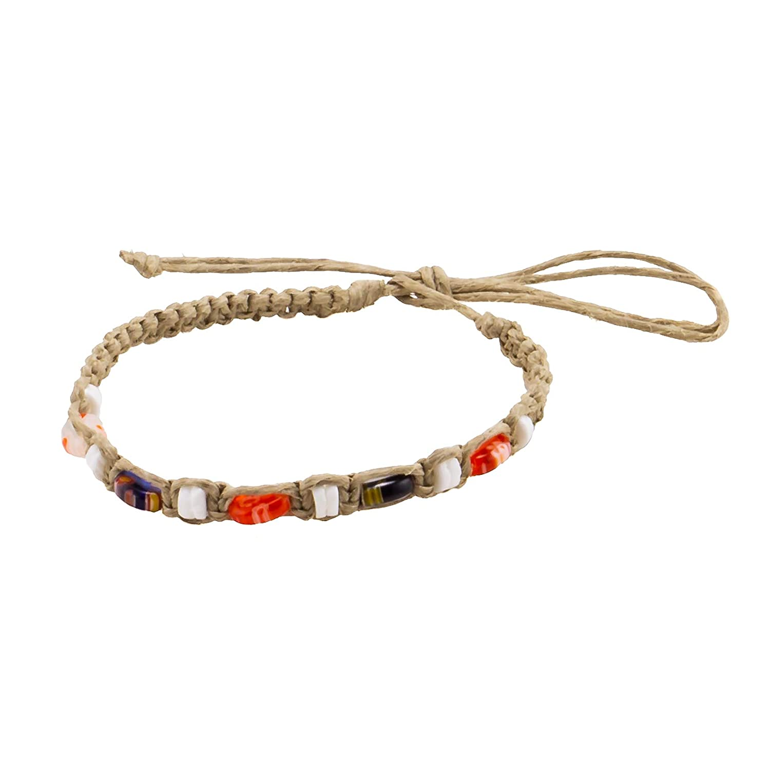 BlueRica Hemp Anklet Bracelet with Puka Shell Beads /& Multicolor Murano Glass Beads