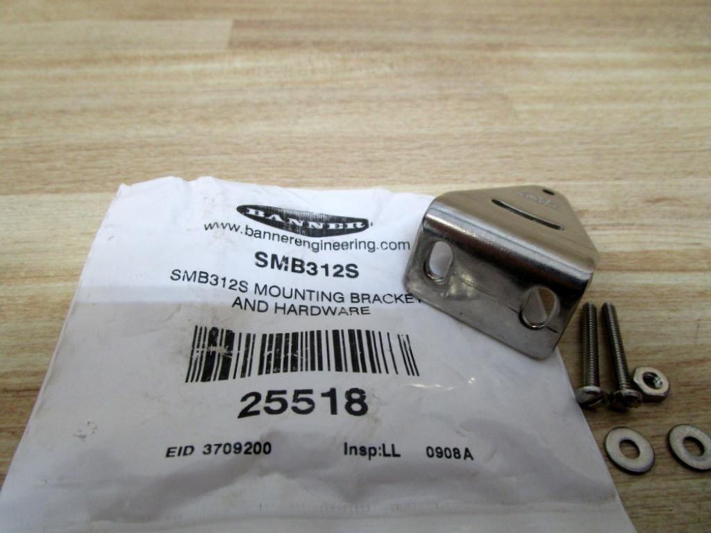 Banner SMB312S Mini Beam DC Photoelectric Sensor Side Mount Bracket, Stainless Steel, 90 Degrees