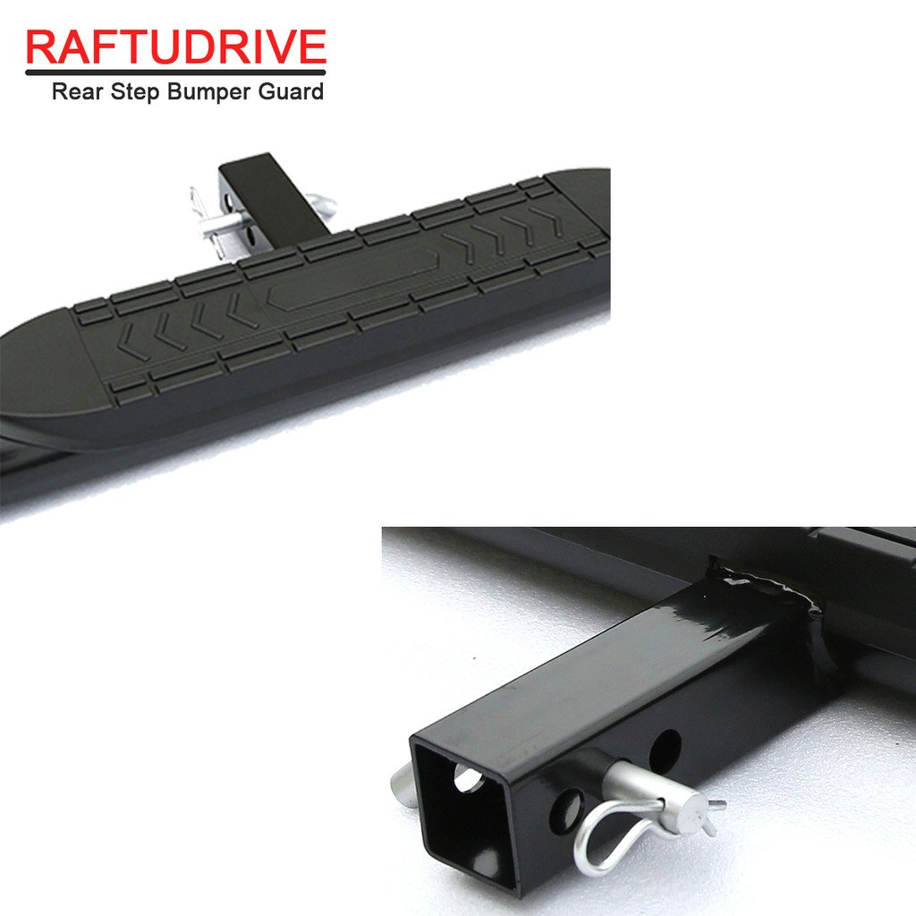 RAFTUDRIVE Black Universal 4 Curved Hitch Step Rear Step Fit Vehicles with 2 Receiver