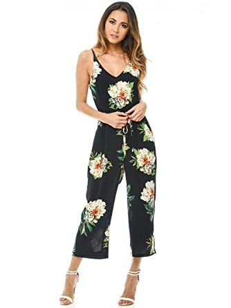 741483c09d43 Womens Sleeveless Strappy Floral Print Black Jumpsuit Playsuit ...