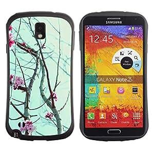 "Hypernova Slim Fit Dual Barniz Protector Caso Case Funda Para Samsung Note 3 [Sky Rose Flores de Primavera Naturaleza Ramas""]"