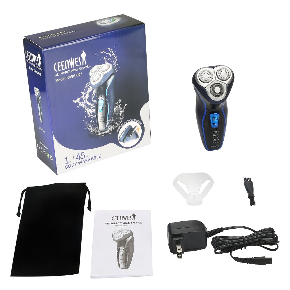 Cordless Men's Electric Shaver, Rechargeable Waterproof Electric Razor with Pop-up Trimmer