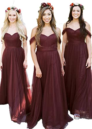 Women Burgundy Fall Wedding Bridesmaid Dresses Off The Shoulder 2018 Long  Tulle Formal Party Dress e2fde3445ebf