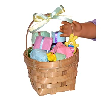 Amazon 18 inch dolls easter basket 6 gifts to open 18 inch dolls easter basket 6 gifts to open accessories made to fit american negle Image collections