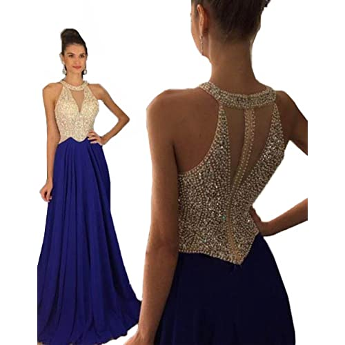Fanciest Womens Crystal Beaded Prom Dresses 2018 Long Evening Gowns Formal