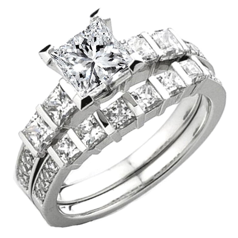 0.80 Carat (ctw) 14k White Gold Princess & Round Diamond Ladies Semi Mount Ring Set (No Center Stone)