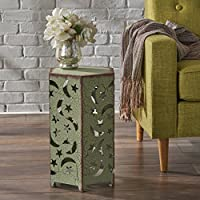 Carusa Indoor 12 Inch Crackle Green Iron Moon and Stars Side Table