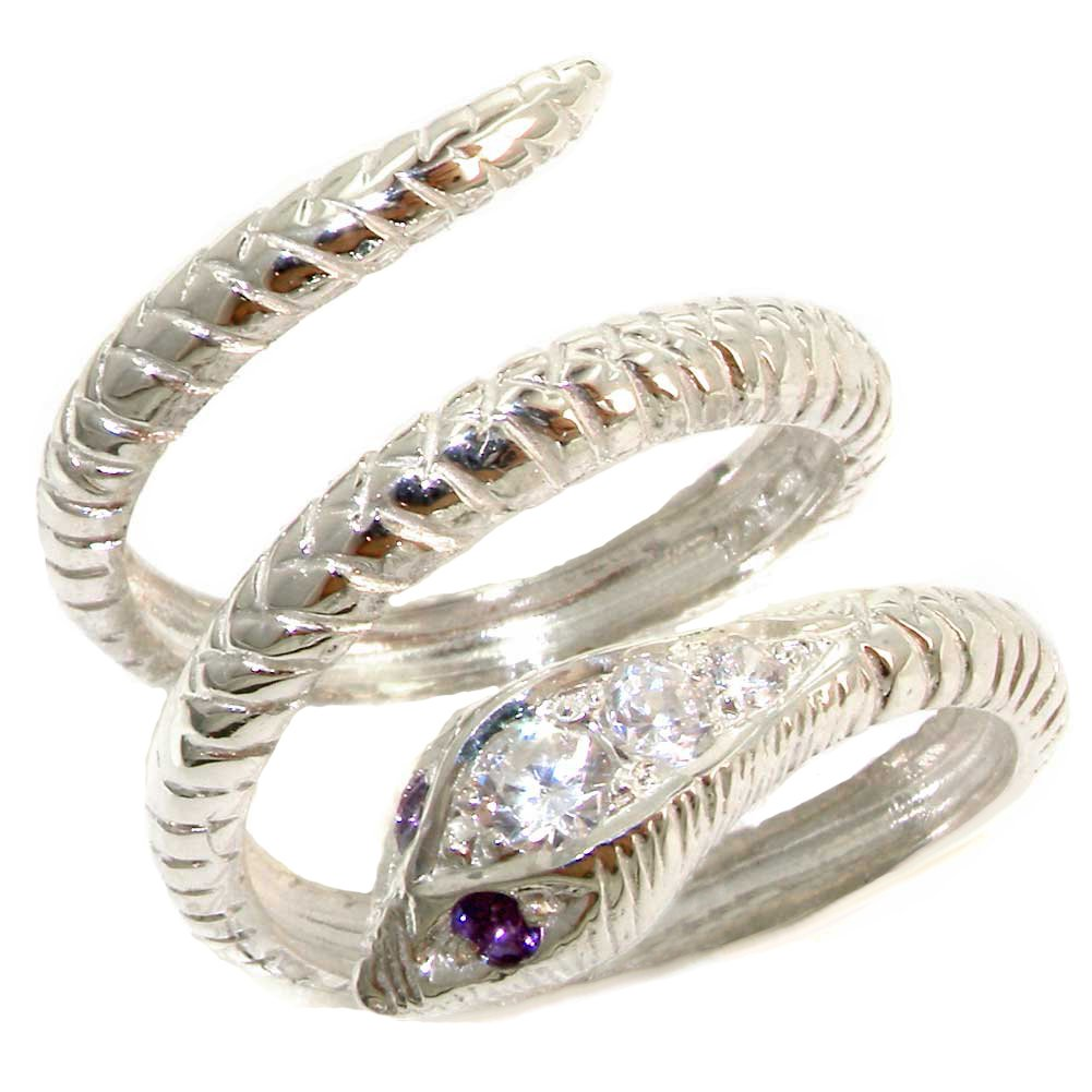 925 Sterling Silver Cubic Zirconia and Real Genuine Amethyst Womens Band Ring LetsBuyGold Jewelers 2092/54/1-SS