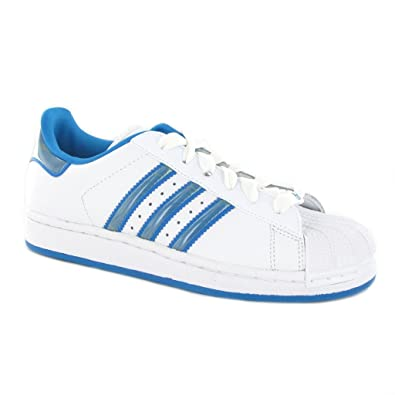 Adidas Superstar 2 W White Blue Leather Womens Traienrs Size