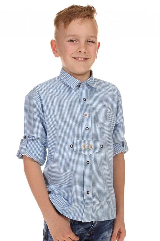 Jungen Isar-Trachten Trachten Kinderhemd hellblau, hellblau,
